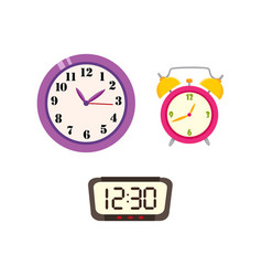 Flat clock types icon set isolated vector