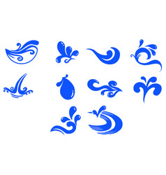 Flat color water icon set vector