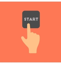 flat icon on stylish background hand button start vector image