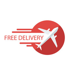 Free delivery plane icon red background ima vector