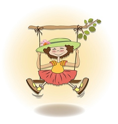 funny girl in a swing vector image