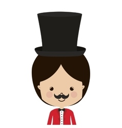 Half body circus ceremony master with hat vector