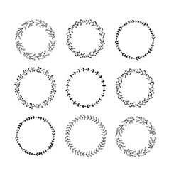 hand drawn set floral wreaths vector image