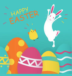 happy easter blue background vector image