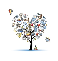 Heart shape tree with toys for baby boy vector