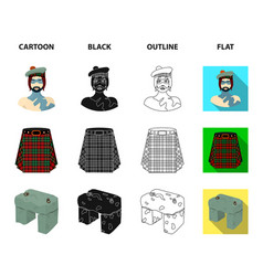 Highlander scottish viking tartan kilt vector