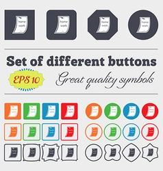 Homework icon sign Big set of colorful diverse vector