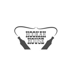 hookah house label badge vintage shisha logo vector image
