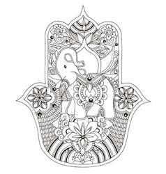 Indian hamsa with an elephant vector