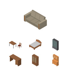 Isometric design set of cupboard couch cabinet vector