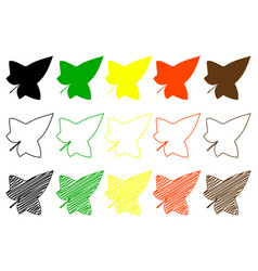 ivy leaf color set vector image