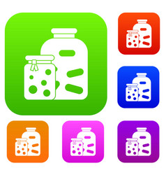 Jars with pickled vegetables and jam set vector