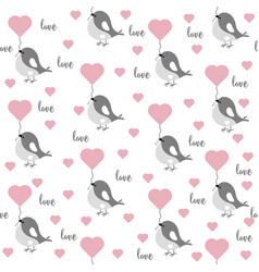 love seamless pattern with birds and hearts vector image