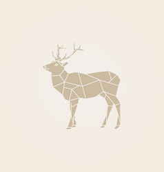 low poly brown deer vector image