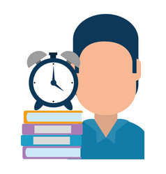 Man with text books and alarm clock vector