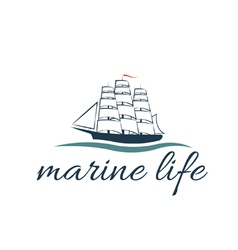 Marine life with frigate vector