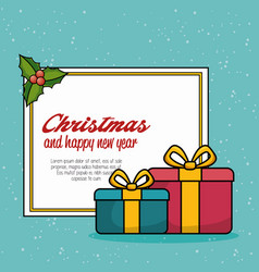 Merry christmas gift isolated icon vector