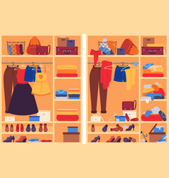 Messy clothes in wardrobe open closet with messy vector