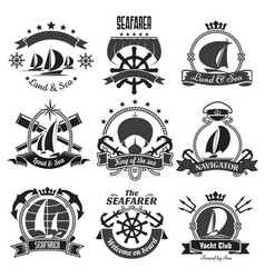 Nautical heraldic symbols marine icons set vector