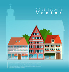 old town in front of a big church vector image