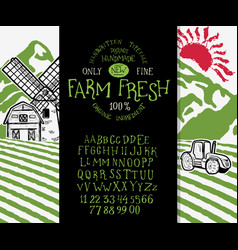 organic handwritten font farm fresh vector image