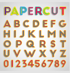 papercut font with numbers vector image