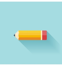 Pencil flat icon Study background vector image