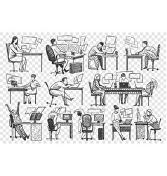 People in office hand drawn doodle set vector