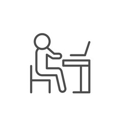 person at computer desk icon vector image