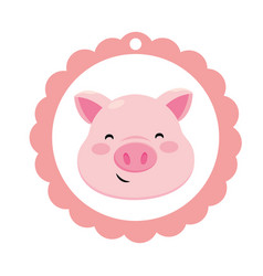 Pig only face vector