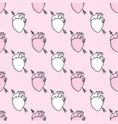 Pink and white anatomical hearts seamless pattern vector