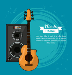 Poster music festival in blue background with vector