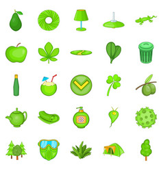 power of nature icons set cartoon style vector image