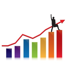 profit and commerce chart with businessman vector image