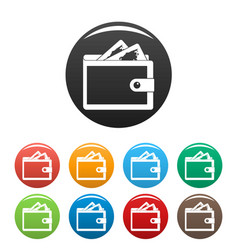 purse icons set color vector image