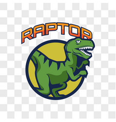 Raptor dinosaur isolated on transparent background vector