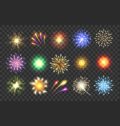 Realistic fireworks vector