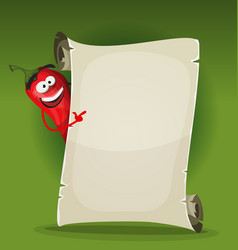 Red hot chili pepper holding restaurant menu vector