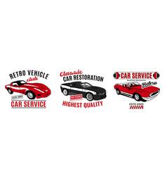 Retro car service logo vector