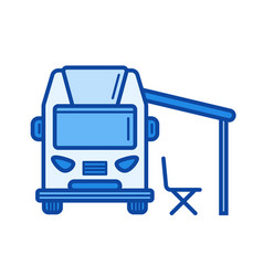 Rv camping line icon vector