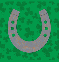 saint patricks day horseshoe green background vector image