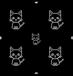 seamless pattern cat pixel art on black background vector image