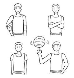 set basketball player vector image