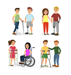set of disabled people with vector image
