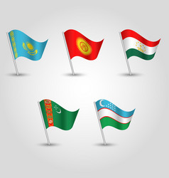 Set of waving flags central asia on silver pole vector