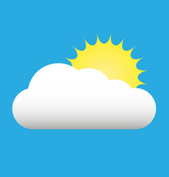 sun and cloud flat icon isolated on blue vector image