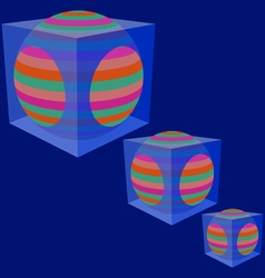 The sphere in a transparent cube vector