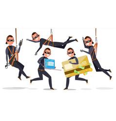 thief hacker man set stealing credit card vector image