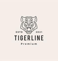 tiger monoline hipster vintage logo icon vector image