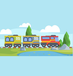 Toy train on railroad fun journey vector